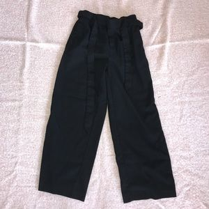 Zara Black Cropped Culottes with Tie
